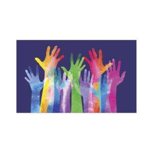 multicoloured raised hands