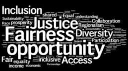 Word cloud. fairness, opportunity, justice