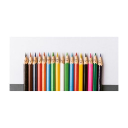 line of coloured pencils