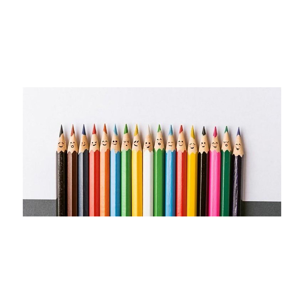 line of coloured pencils